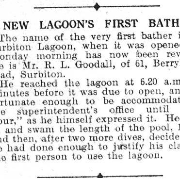 Surbiton Lagoon First Bather